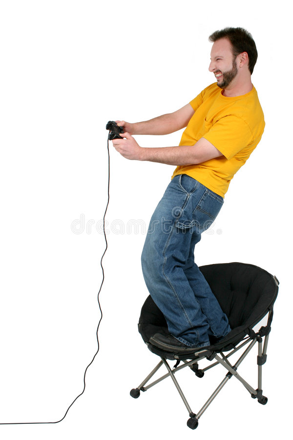 Download Casual Man Playing Computer Games Over White Stock Image - Image of chair, beard: 116509