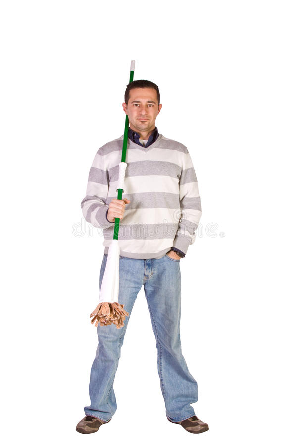 Casual Man Posing with a Sweeper stock photography