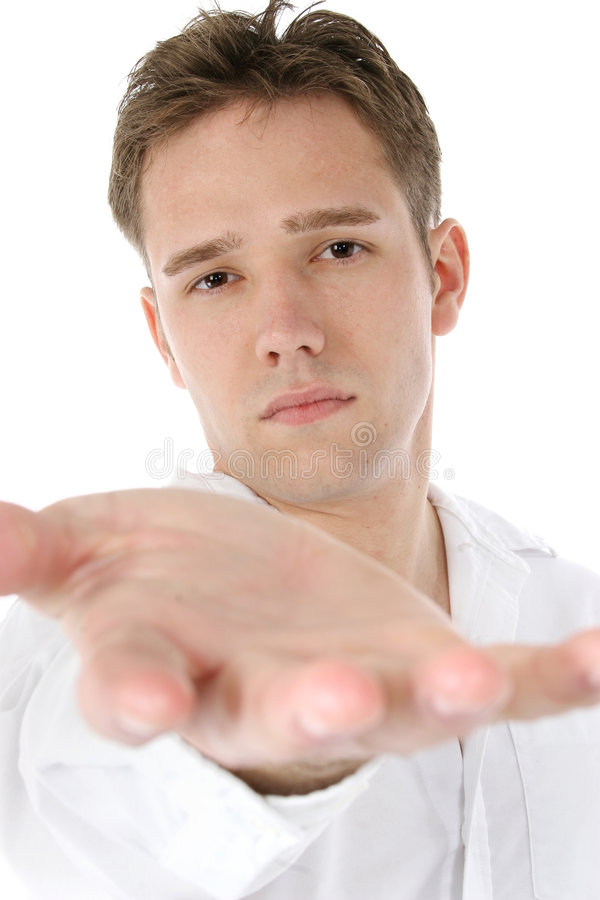 Casual Man Reaching Out royalty free stock photography