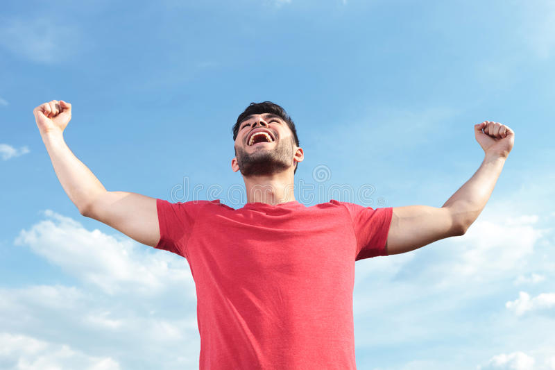 Download Casual Man Shouting Victorious Stock Image - Image: 33178519