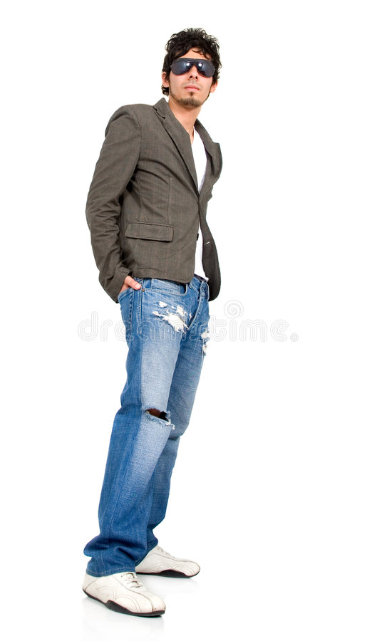 Download Casual Man Standing On White Stock Image - Image: 3445105