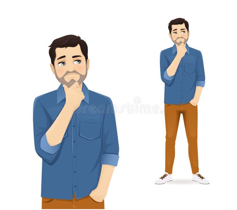 Casual man thinking vector illustration