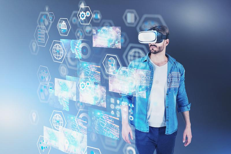 Casual man in VR headset, business interface stock illustration