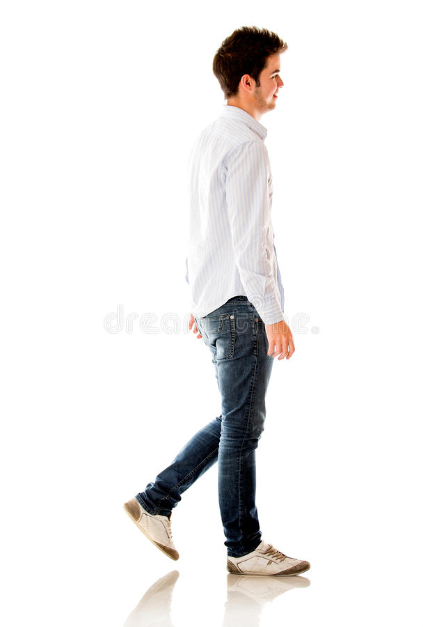 Download Casual man walking stock image. Image of profile, fullbody - 25353705