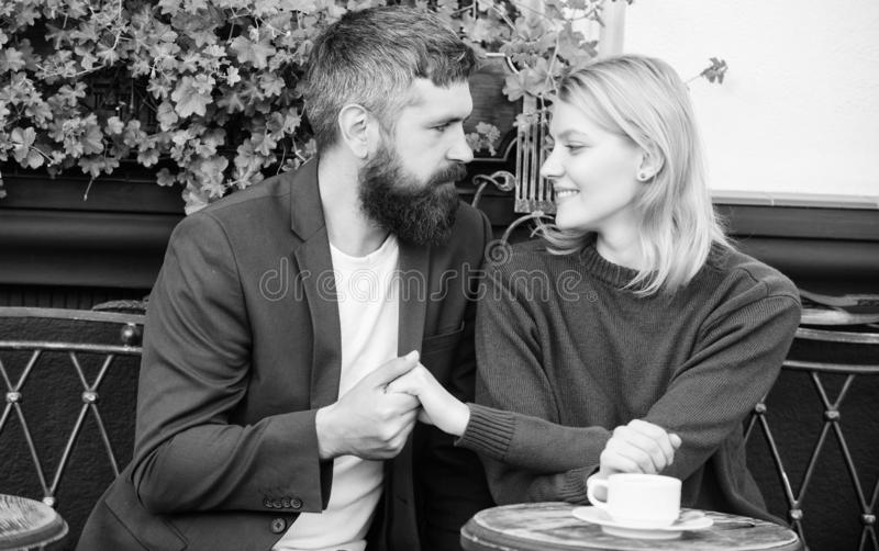 Casual meet acquaintance public place. Romantic couple. Normal way to meet and connect with other single people. Meet. Become acquaintances. Meeting people royalty free stock image