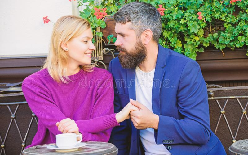 Casual meet acquaintance public place. Romantic couple. Normal way to meet and connect with other single people. Meet. Become acquaintances. Meeting people royalty free stock photography