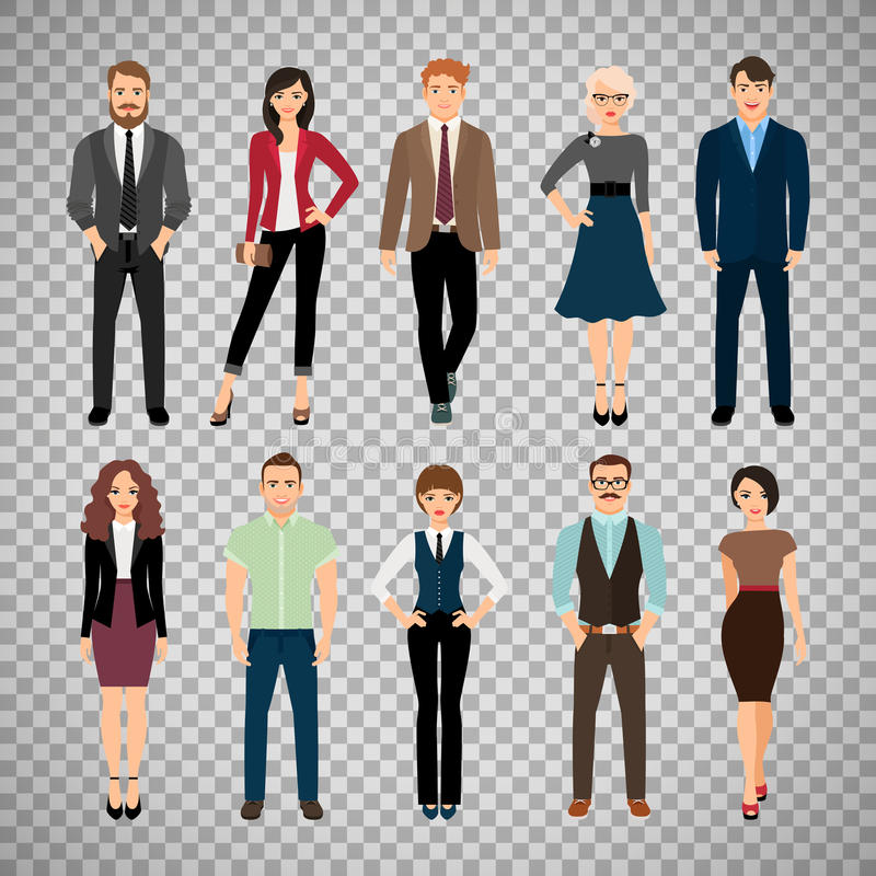 Casual office people on transparent background stock illustration