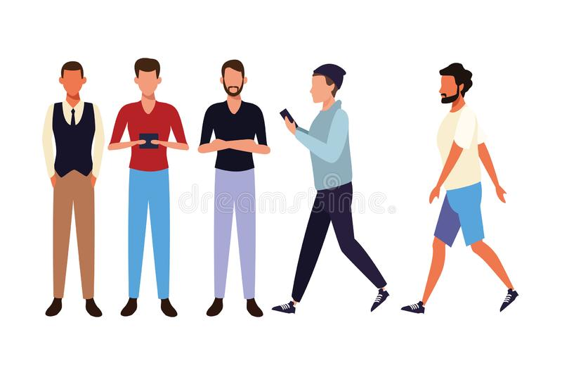 Casual people cartoon. Casual people men technology devices concept cartoon vector illustration graphic design royalty free illustration