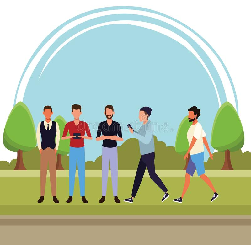 Casual people cartoon. Casual people men technology devices concept cartoon walking in the park scenery vector illustration graphic design vector illustration