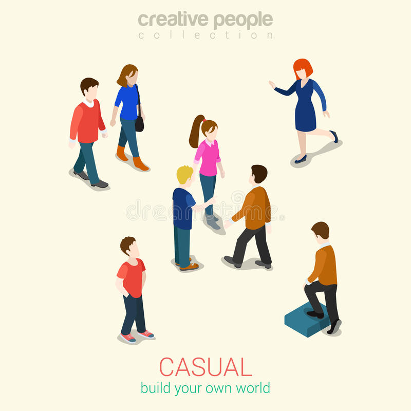 Casual people flat 3d web isometric infographic concept for Build your own net dream