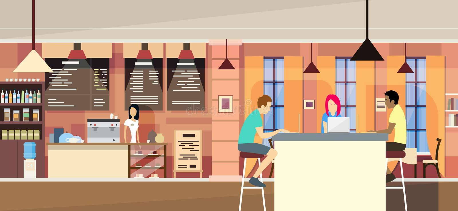 Casual People Group In Modern Cafe Sit Chatting, Students University Campus. Vector Illustration royalty free illustration