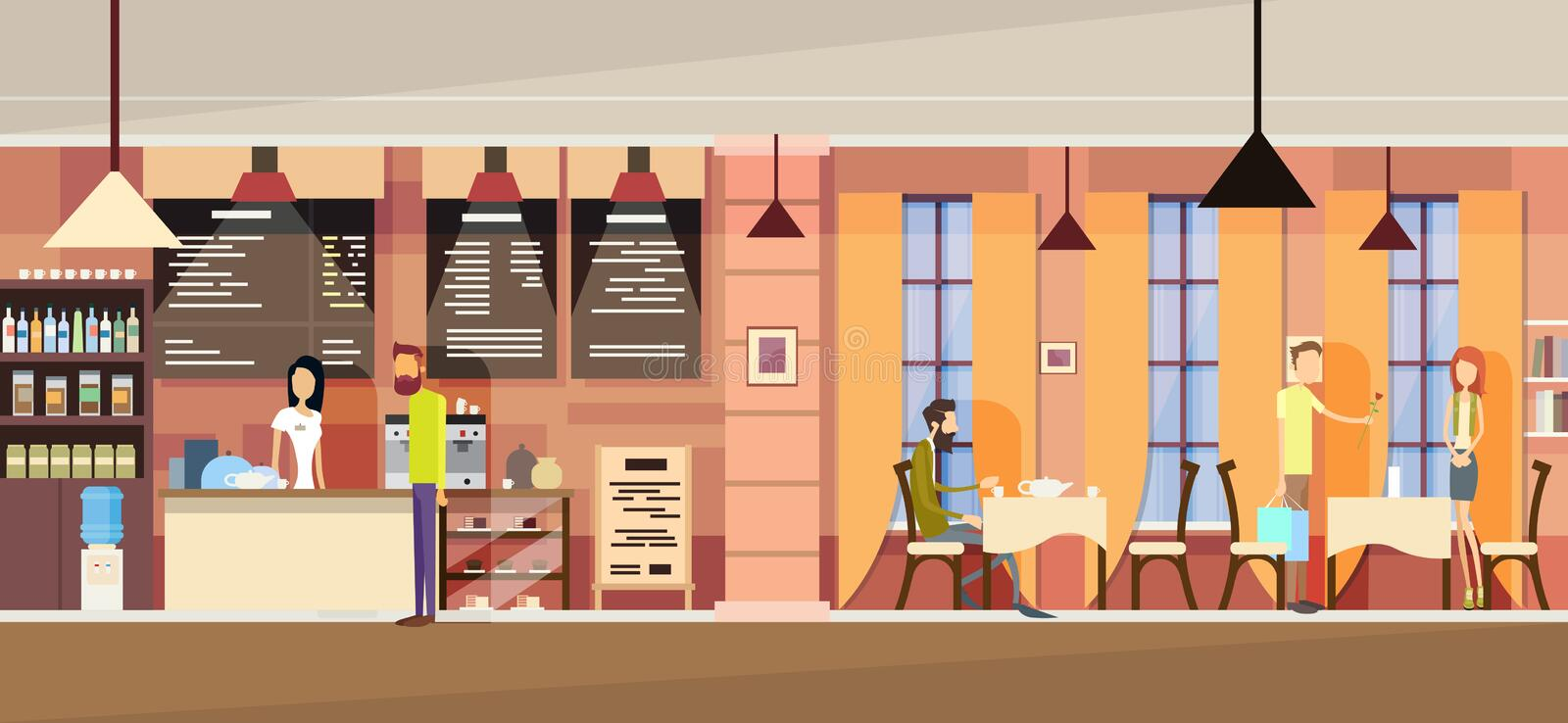 Casual People Group In Modern Cafe, Waitress Chatting, Couple Date, Students University Campus vector illustration