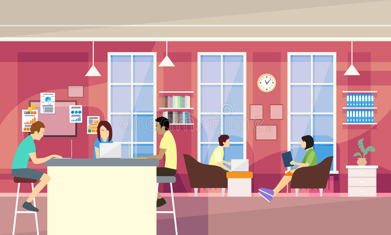 Casual People Group In Modern Office Sit Chatting, Students University Campus stock illustration