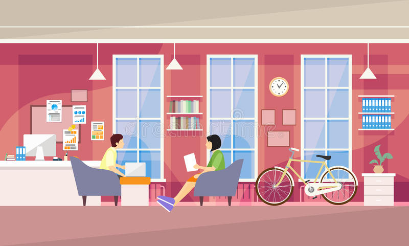 Casual People Group In Modern Office Sit Chatting, Students University Campus. Vector Illustration royalty free illustration