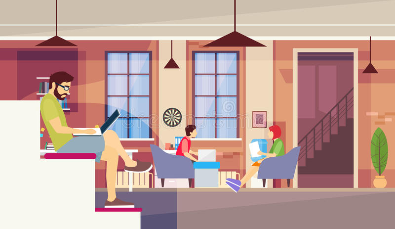 Casual People Group Sit Chatting, Man Use Laptop Computer , Students University Campus. Creative Office Co-working Center People Sitting Desk Working Together vector illustration