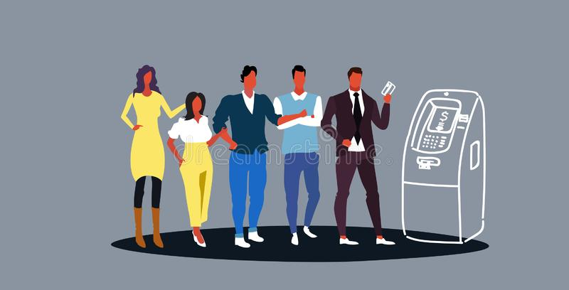 Casual people standing in line queue to withdrawing cash in atm automatic teller machine bank clients using credit card vector illustration