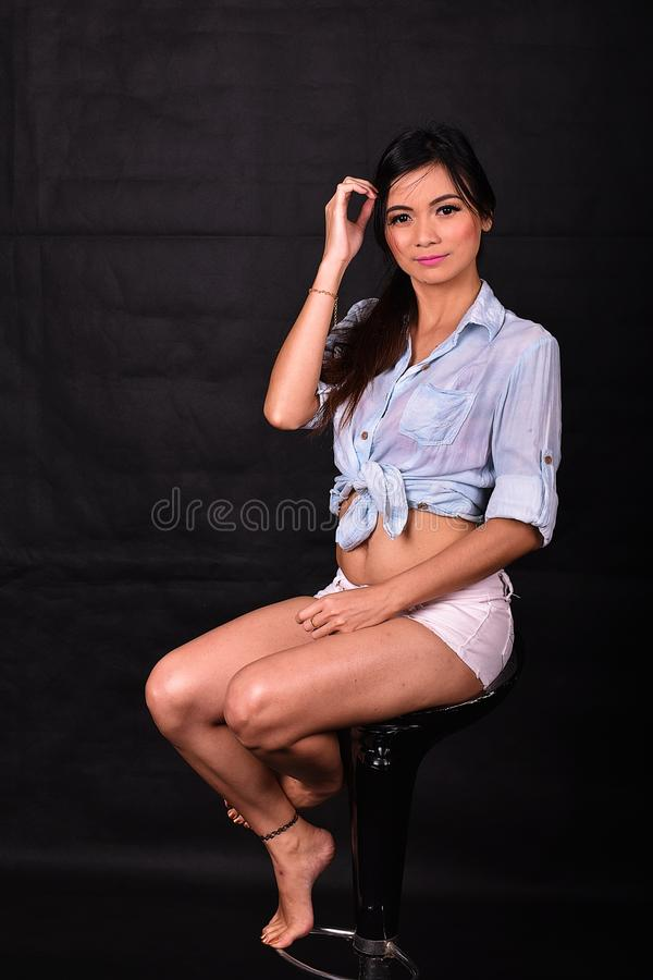 Beautiful Asian Model Casual Photo Shoot In A Studio stock images
