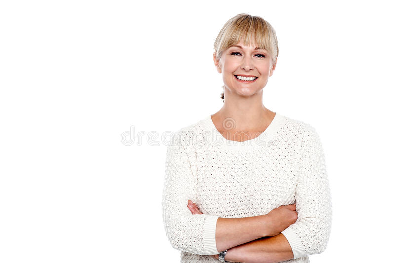 Casual portrait of a middle aged woman royalty free stock photography
