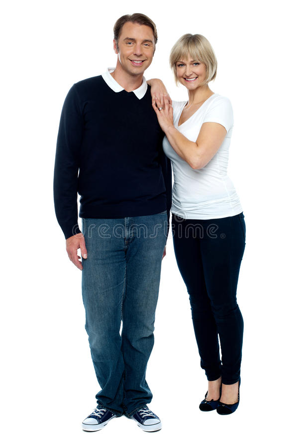 Casual portrait of trendy middle aged love couple royalty free stock images