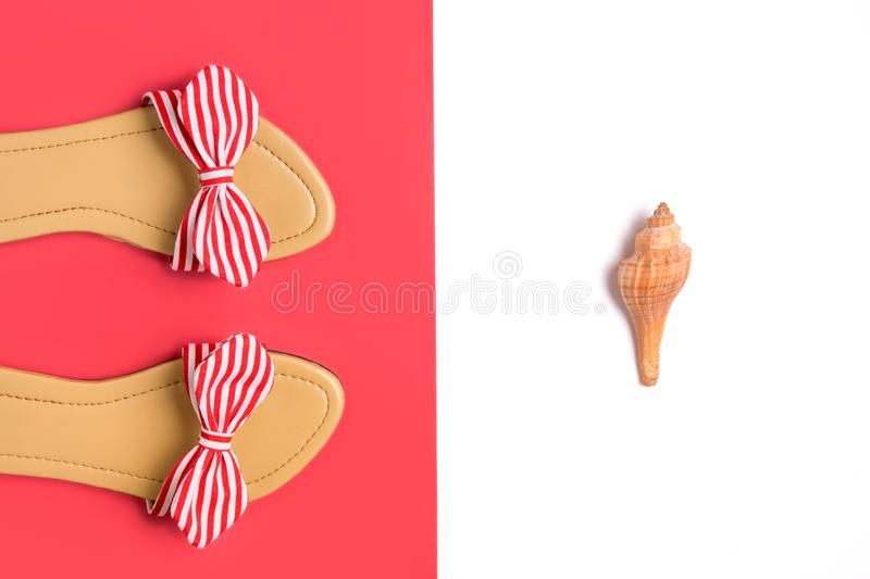 Casual red stripy sandals fashion / lifestyle concept image. Casual red stripy women`s sandals fashion / lifestyle concept image with copy space stock image