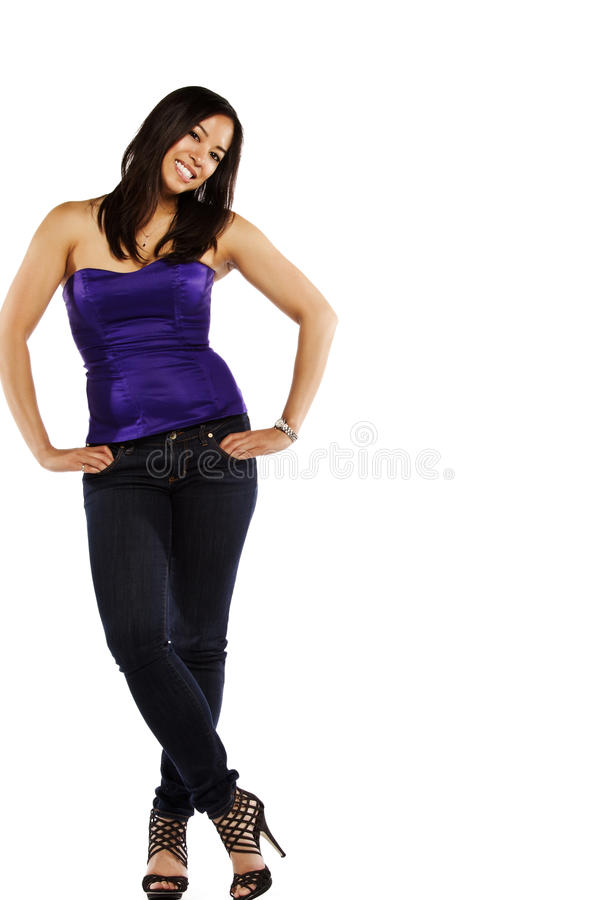 Casual young mixed race Asian female royalty free stock image