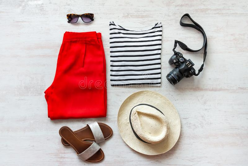 Casual spring/summer female clothing set. Vacation clothes and accessories concept. Casual spring/summer female clothing set. Vacation clothes and accessories royalty free stock photo