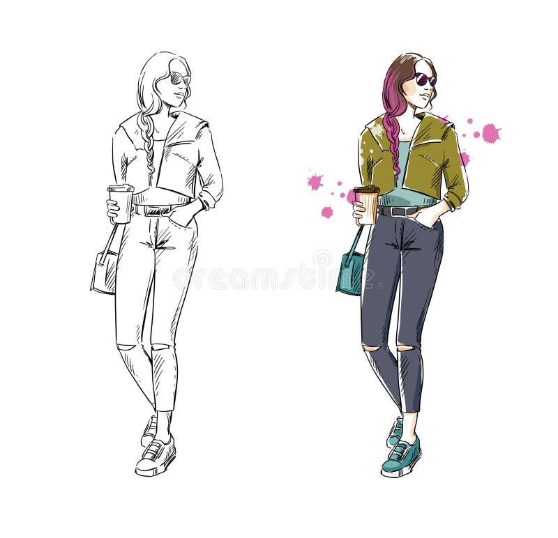 Casual street look, vector fashion illustration stock illustration