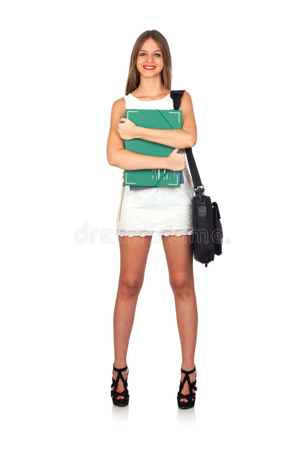 Casual Student Woman With Folder And Briefcase Royalty Free Stock Image