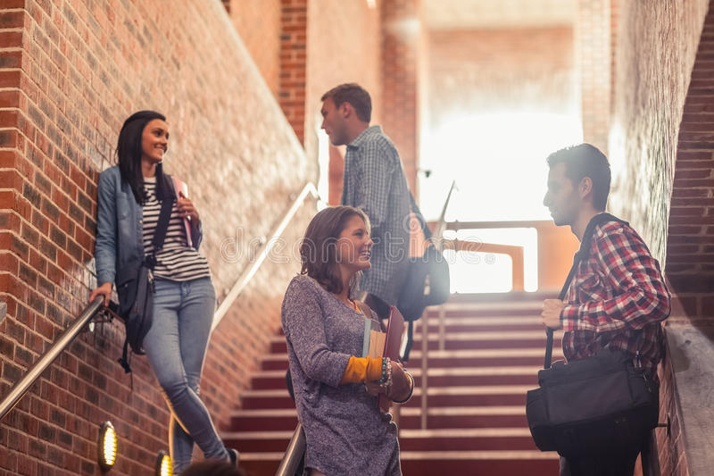 Casual students standing on stairs chatting royalty free stock images