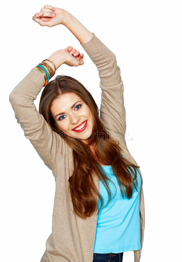 Casual style young woman, hand up. White background isolated royalty free stock photo
