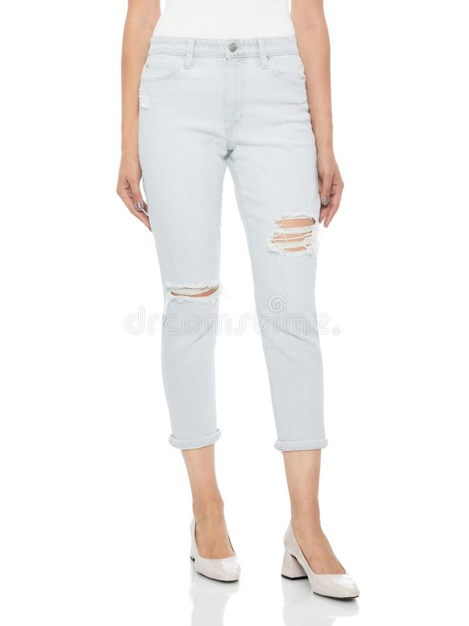 Free Casual Summer Pants Women High Waist Trousers For Women , Woman In Tight Jeans And Heels, White Background Stock Image - 165433011