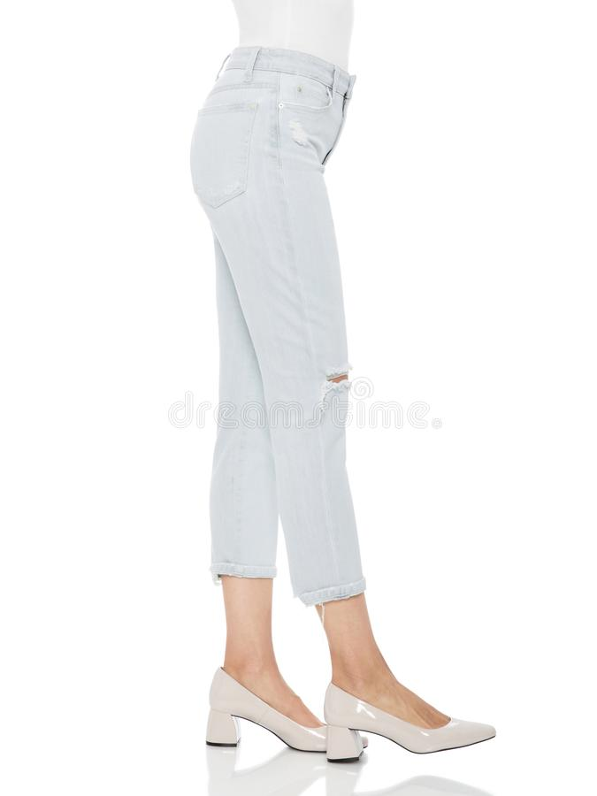 Free Casual Summer Pants Women High Waist Trousers For Women , Woman In Tight Jeans And Heels, White Background Royalty Free Stock Photos - 165433058