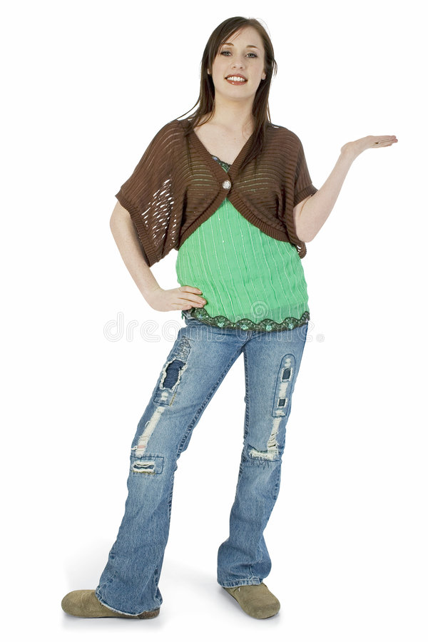 Casual Teen with Hand Out to Side royalty free stock photography