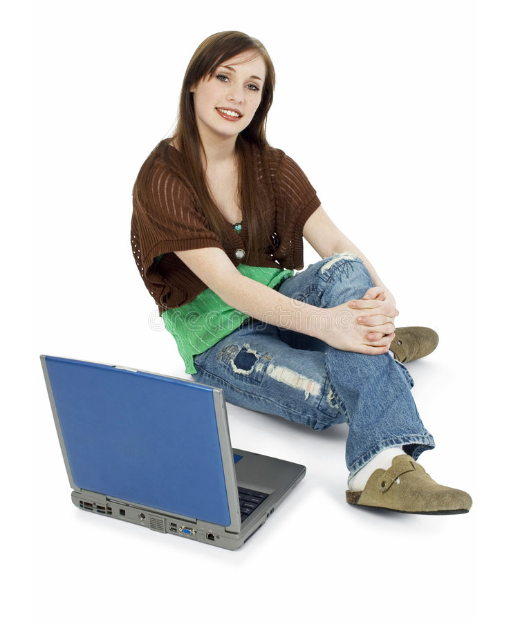 Casual Teen with Laptop royalty free stock photos