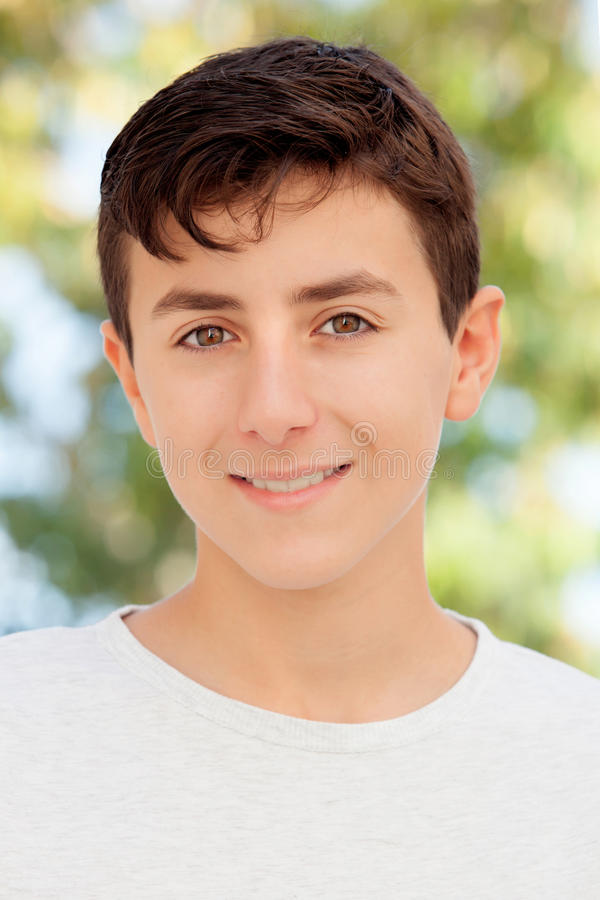 Casual Thirteen year old teenage boy stock photos