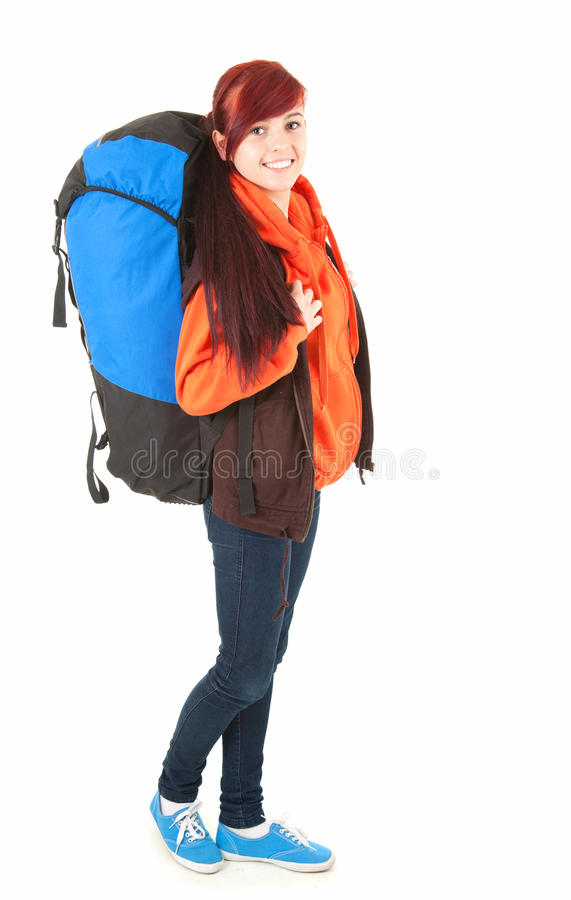Download Casual Tourist Girl With Backpack, Full Length Stock Image - Image: 26436191