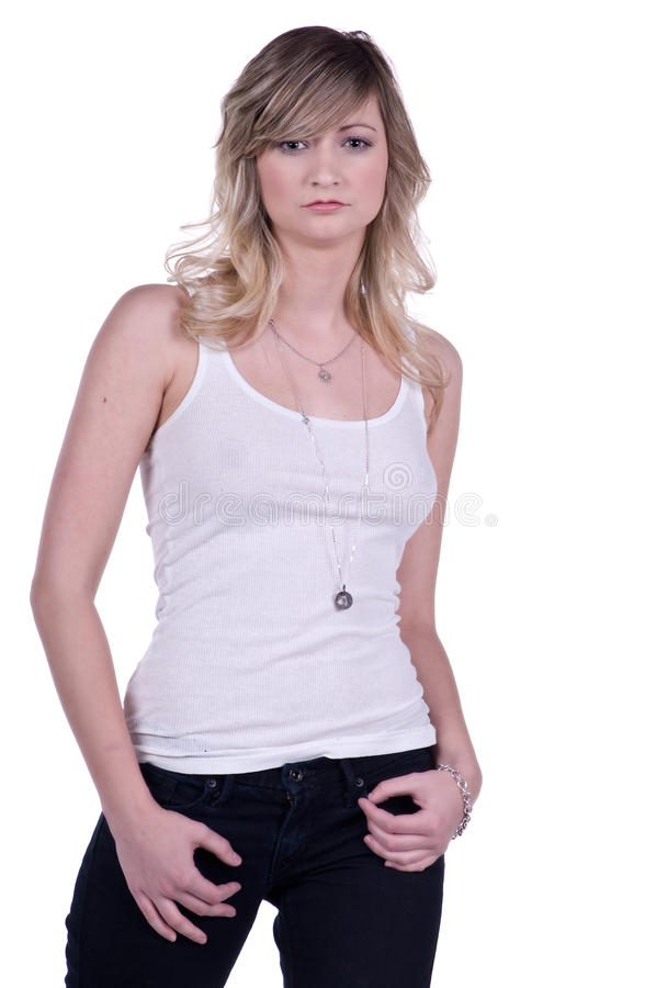 Download Casual Woman stock photo. Image of adult, jeans, tank - 14729136