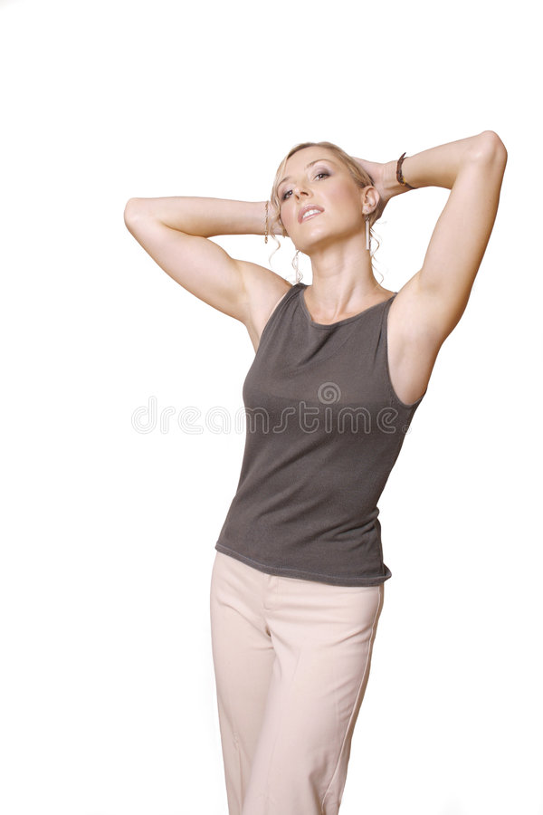 Casual Woman. In beige royalty free stock photos
