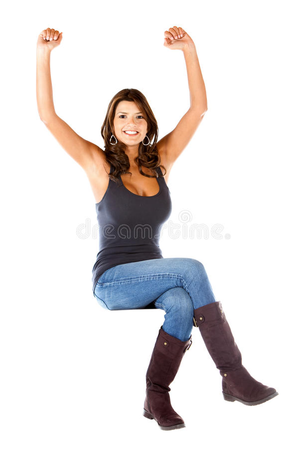 Download Casual woman with arms up stock image. Image of woman - 16036547