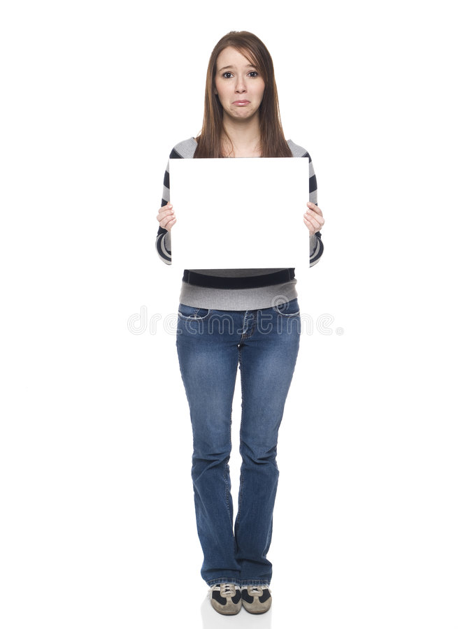 Download Casual Woman - Blank Sign Sad Stock Image - Image: 9308303
