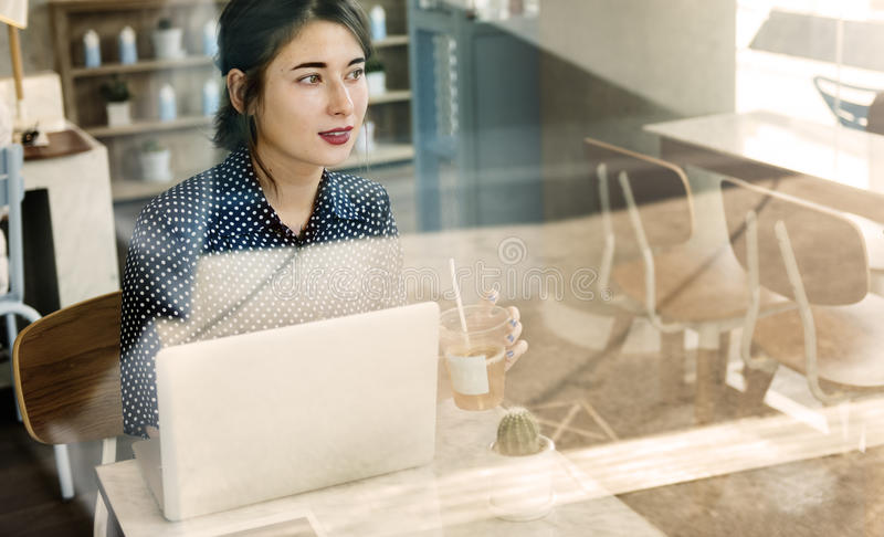 Casual Woman Cafe Social Media Relax Concept royalty free stock photo
