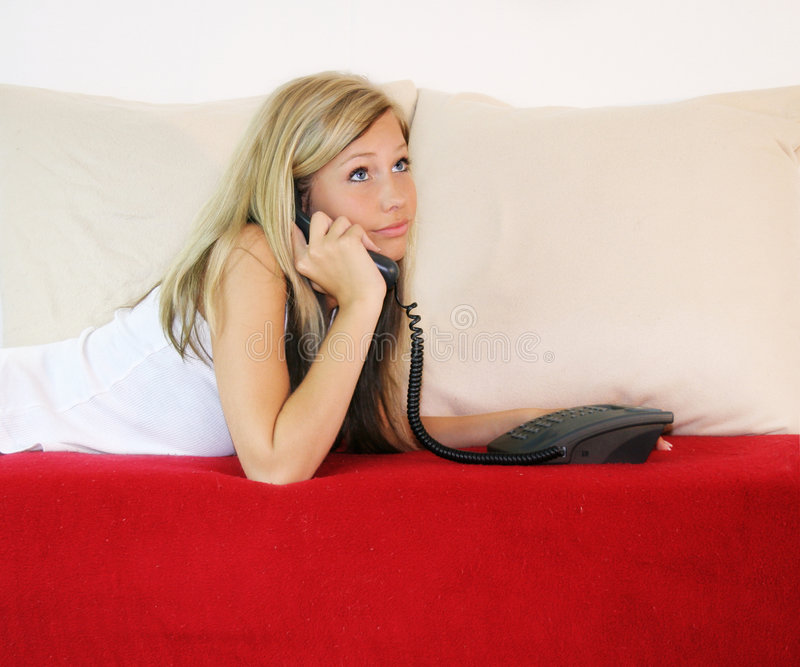 Casual woman is calling royalty free stock photo