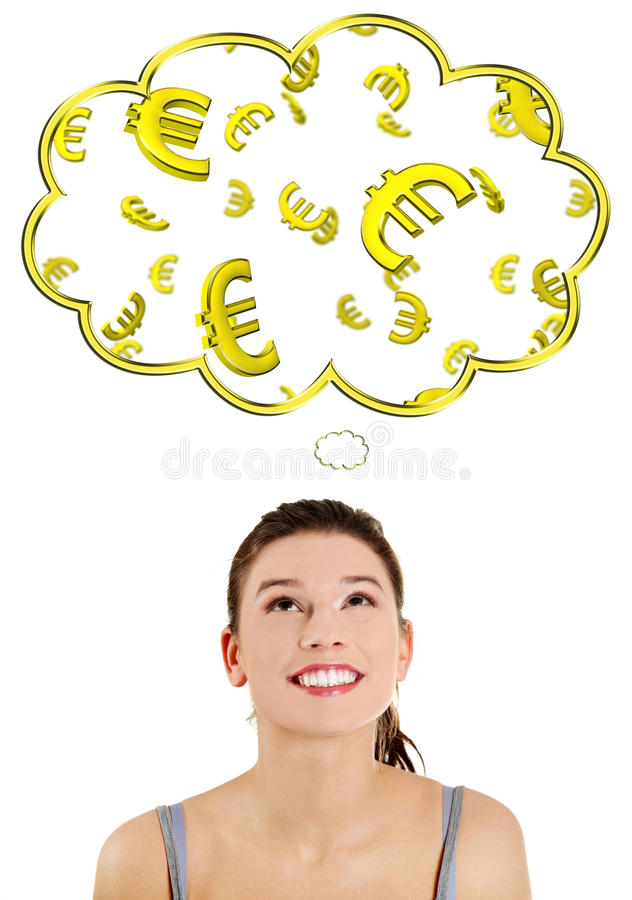 Download Casual Woman Daydreaming About Euro (ern Or Win). Stock Photo - Image: 23535646