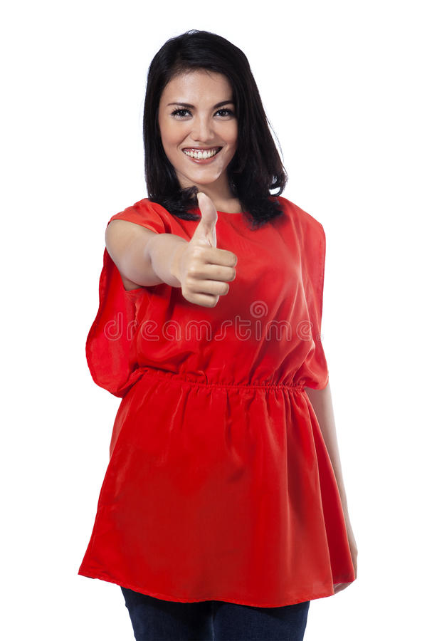 Casual woman gesturing agreement stock photography