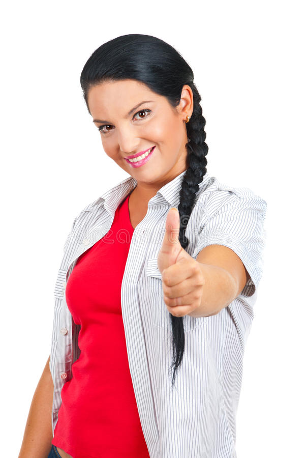 Casual woman giving thumbs royalty free stock photos