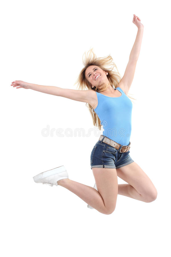 Casual woman jumping excited stock photography