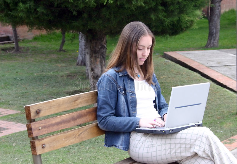 Download Casual woman on laptop stock image. Image of break, leaning - 109881