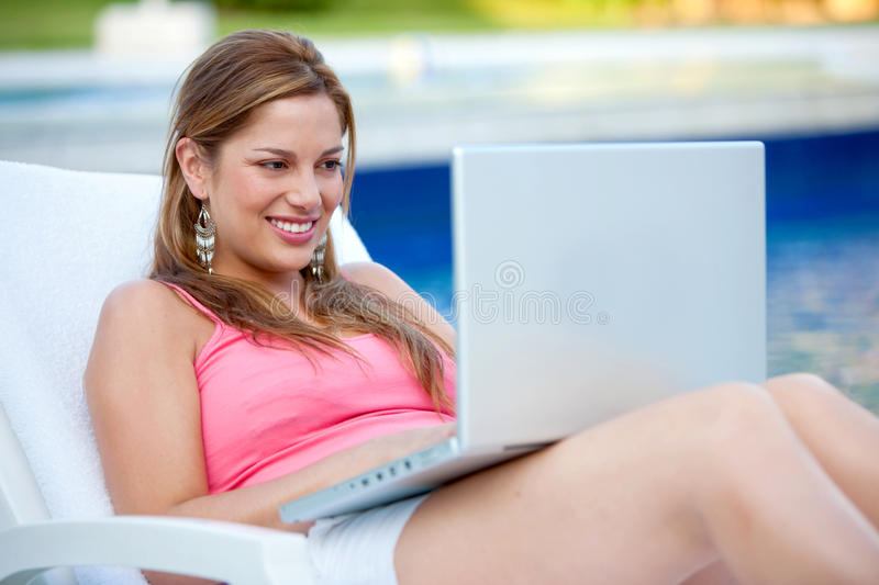 Download Casual woman with laptop stock photo. Image of female - 12086386