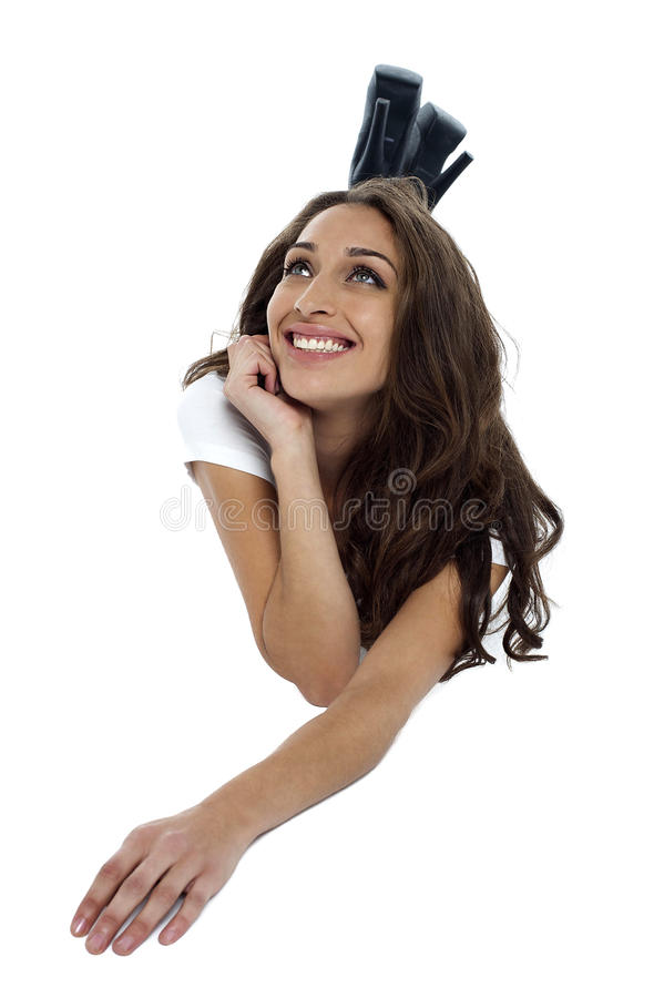 Free Casual Woman Recalling Old Memories And Smiling Royalty Free Stock Image - 28797086