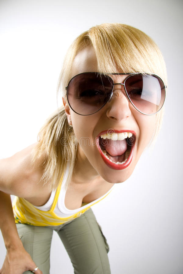 Casual woman screaming royalty free stock photo